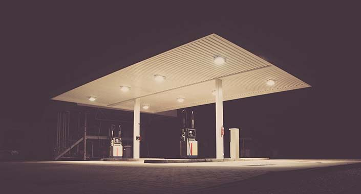 Special lamps for lighting petrol stations